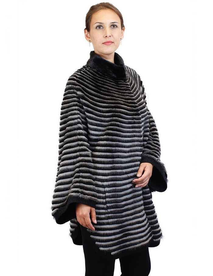 GRAY & BLACK HORIZONTAL STRIPED MINK FUR & WOOL PONCHO SWEATER - from THE REAL FUR DEAL & DAVID APPEL FURS new and pre-owned online fur store!