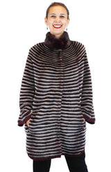 WINE RED & GRAY HORIZONTAL STRIPED MINK FUR & WOOL PONCHO SWEATER - from THE REAL FUR DEAL & DAVID APPEL FURS new and pre-owned online fur store!