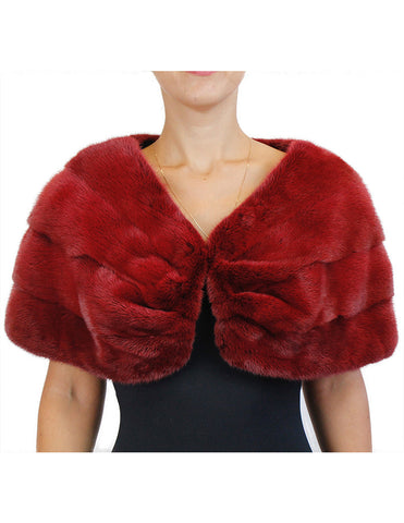 DARK RED DYED MINK FUR HORIZONTAL PLEATED CAPELET, BURGUNDY - from THE REAL FUR DEAL & DAVID APPEL FURS new and pre-owned online fur store!