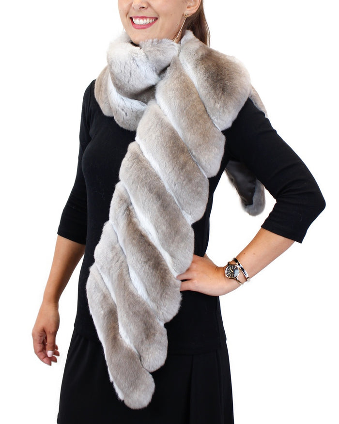 NATURAL BEIGE CHINCHILLA FUR SCARF - from THE REAL FUR DEAL & DAVID APPEL FURS new and pre-owned online fur store!