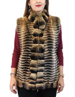 FAWN BROWN FEATHERED CHINCHILLA FUR VEST - from THE REAL FUR DEAL & DAVID APPEL FURS new and pre-owned online fur store!