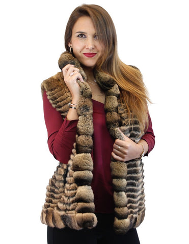 FAWN BROWN FEATHERED CHINCHILLA FUR VEST