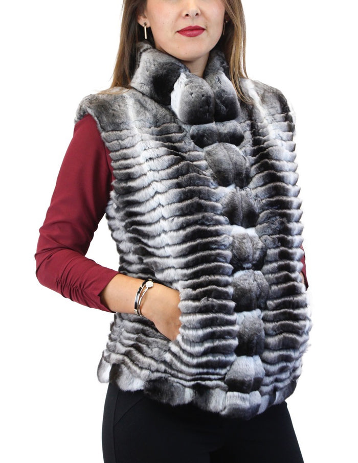 NATURAL FEATHERED CHINCHILLA FUR VEST - from THE REAL FUR DEAL & DAVID APPEL FURS new and pre-owned online fur store!