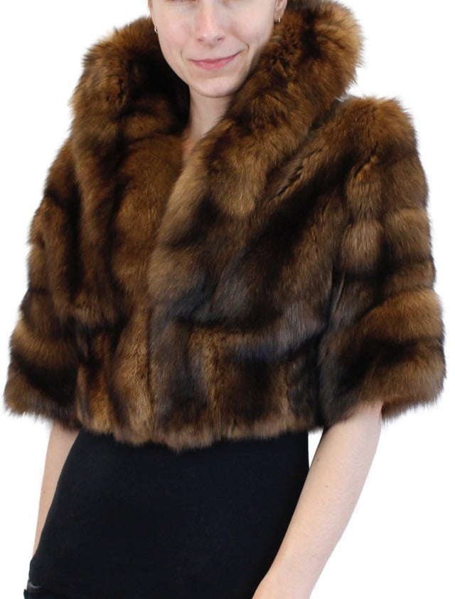 PRE-OWNED SMALL/MEDIUM NATURAL DARK GOLDEN RUSSIAN BARGUZIN SABLE FUR SHORT BOLERO JACKET - from THE REAL FUR DEAL & DAVID APPEL FURS new and pre-owned online fur store!