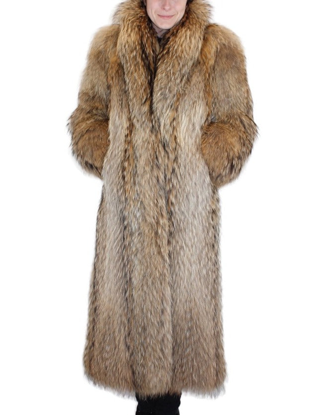 PRE-OWNED MEDIUM/LARGE NATURAL FINNISH RACCOON FUR COAT - THICK FUR! - from THE REAL FUR DEAL & DAVID APPEL FURS new and pre-owned online fur store!