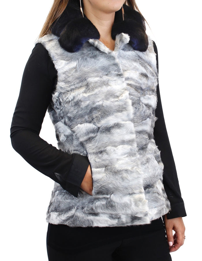 NATURAL GRAY RUSSIAN BROADTAIL LAMB VEST WITH MIDNIGHT BLUE CHINCHILLA FUR COLLAR - from THE REAL FUR DEAL & DAVID APPEL FURS new and pre-owned online fur store!