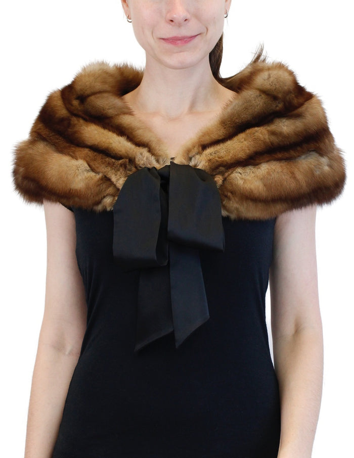 PRE-OWNED SMALL/MEDIUM NATURAL RUSSIAN BARGUZIN SABLE FUR CAPELET - from THE REAL FUR DEAL & DAVID APPEL FURS new and pre-owned online fur store!