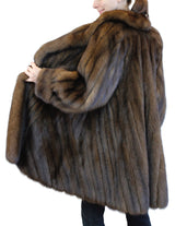 PRE-OWNED LARGE NATURAL RUSSIAN BARGUZIN SABLE FUR ⅞ DIRECTIONAL COAT! - from THE REAL FUR DEAL & DAVID APPEL FURS new and pre-owned online fur store!