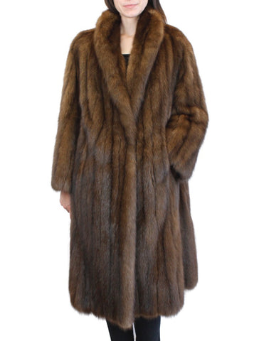 PRE-OWNED LARGE/XL NATURAL RUSSIAN SABLE FUR COAT