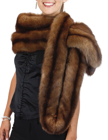 PRE-OWNED I. MAGNIN LONG NATURAL RUSSIAN SABLE FUR DOUBLE BOA! SHAWL, WRAP, SCARF