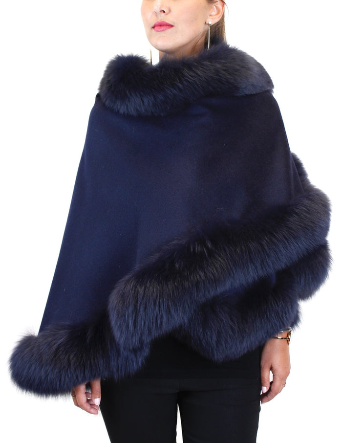CASHMERE AND FOX FUR CAPE, PONCHO - from THE REAL FUR DEAL & DAVID APPEL FURS new and pre-owned online fur store!