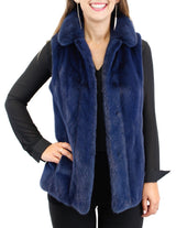 NAVY BLUE MINK FUR VEST - from THE REAL FUR DEAL & DAVID APPEL FURS new and pre-owned online fur store!