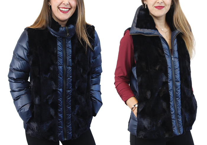 NAVY BLUE SHEARED MINK FUR PUFF JACKET/VEST - REMOVABLE SLEEVES! - from THE REAL FUR DEAL & DAVID APPEL FURS new and pre-owned online fur store!