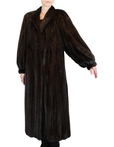 PRE-OWNED LARGE/XL NEIMAN MARCUS LONG DARK BROWN BLACK MINK FUR COAT