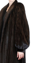 PRE-OWNED LARGE/XL NEIMAN MARCUS LONG DARK BROWN BLACK MINK FUR COAT - from THE REAL FUR DEAL & DAVID APPEL FURS new and pre-owned online fur store!