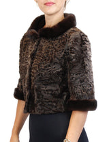 NATURAL BROWN RUSSIAN BROADTAIL SHORT BOLERO JACKET W/ MAHOGANY MINK FUR TRIM - from THE REAL FUR DEAL & DAVID APPEL FURS new and pre-owned online fur store!