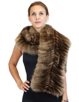 BRAIDED NATURAL RUSSIAN SABLE SECTIONS CROSSOVER STOLE/WRAP - from THE REAL FUR DEAL & DAVID APPEL FURS new and pre-owned online fur store!