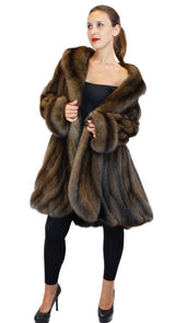 NATURAL RUSSIAN SABLE FUR ⅞ COAT W/ FITTED BODY AND LARGE SWIRL BOTTOM - from THE REAL FUR DEAL & DAVID APPEL FURS new and pre-owned online fur store!