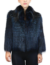 MIDNIGHT BLUE DYED CANADIAN SILVER FOX FUR LAYERED SHORT JACKET - from THE REAL FUR DEAL & DAVID APPEL FURS new and pre-owned online fur store!