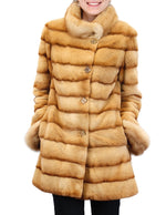 PRE-OWNED MEDIUM PLUCKED GOLDEN MINK FUR COAT WITH SABLE FUR COLLAR & CUFFS! - from THE REAL FUR DEAL & DAVID APPEL FURS new and pre-owned online fur store!