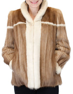 PRE-OWNED MEDIUM <b>ROBINSON'S</b> TWO-TONE PASTEL & BEIGE CORDUROY MINK FUR JACKET - from THE REAL FUR DEAL & DAVID APPEL FURS new and pre-owned online fur store!