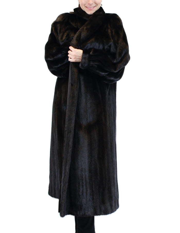 PRE-OWNED XL LONG DARK MINK FUR COAT - BATWING SLEEVES - STUNNING! DARK BROWN/BLACK - from THE REAL FUR DEAL & DAVID APPEL FURS new and pre-owned online fur store!