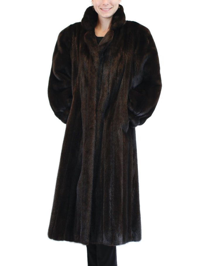 PRE-OWNED XL LONG DARK BROWN MINK FUR COAT - THICK, PLUSH FUR! - from THE REAL FUR DEAL & DAVID APPEL FURS new and pre-owned online fur store!
