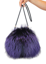 PURPLE & BLACK SILVER FOX FUR MUFF PURSE, BAG - from THE REAL FUR DEAL & DAVID APPEL FURS new and pre-owned online fur store!