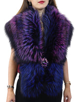PURPLE & BLUE DYED SILVER FOX FUR COLLAR/SHAWL WITH BROOCH - from THE REAL FUR DEAL & DAVID APPEL FURS new and pre-owned online fur store!