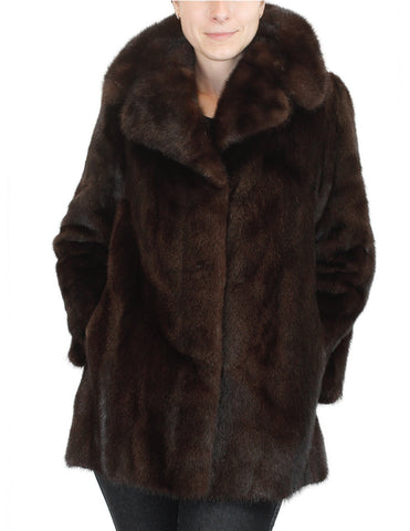 PRE-OWNED MEDIUM DARK BROWN RANCH MINK FUR JACKET - NO MONOGRAM! - from THE REAL FUR DEAL & DAVID APPEL FURS new and pre-owned online fur store!