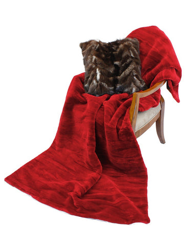 RED DYED SHEARED BEAVER FUR THROW, BLANKET
