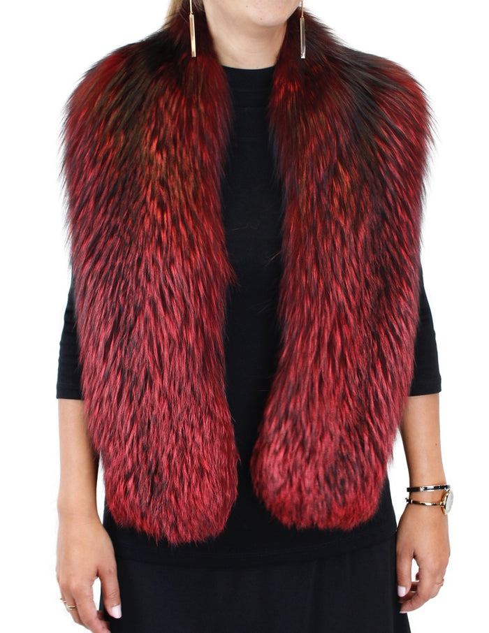 RED DYED FOX FUR COLLAR, SCARF - from THE REAL FUR DEAL & DAVID APPEL FURS new and pre-owned online fur store!