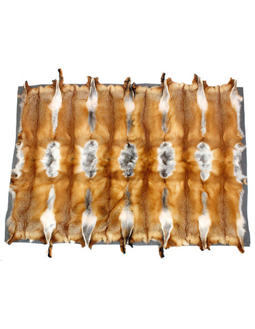RED FOX FUR THROW w/ GRAY BAMBOO LINING