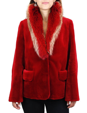 NEW MEDIUM RED SHEARED MINK FUR JACKET WITH FOX FUR COLLAR