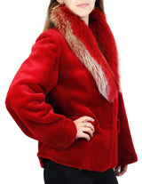 NEW MEDIUM RED SHEARED MINK FUR JACKET WITH FOX FUR COLLAR - from THE REAL FUR DEAL & DAVID APPEL FURS new and pre-owned online fur store!