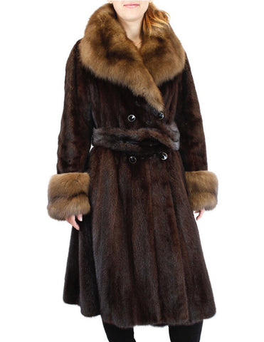 PRE-OWNED LARGE BROWN RANCH MINK FUR & NATURAL RUSSIAN SABLE FUR SWING COAT