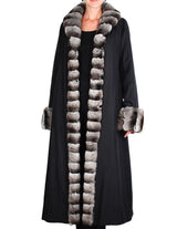 PRE-OWNED MEDIUM REVERSIBLE BLACK SHEARED MINK FUR COAT WITH CHINCHILLA FUR TRIM - from THE REAL FUR DEAL & DAVID APPEL FURS new and pre-owned online fur store!