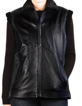 <b>REVERSIBLE</b> BLACK DIAMOND CUT SHEARED MINK FUR & LAMBSKIN LEATHER VEST - from THE REAL FUR DEAL & DAVID APPEL FURS new and pre-owned online fur store!