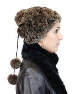 TAUPE REX RABBIT FUR CONVERTIBLE BEANIE HAT/NECK WARMER W/POM-POMS - from THE REAL FUR DEAL & DAVID APPEL FURS new and pre-owned online fur store!