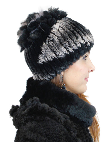 BLACK & GRAY KNITTED REX RABBIT FUR & FOX FUR BEANIE, HAT - from THE REAL FUR DEAL & DAVID APPEL FURS new and pre-owned online fur store!