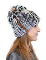 KNITTED REX RABBIT FUR & FOX FUR BEANIE, HAT - from THE REAL FUR DEAL & DAVID APPEL FURS new and pre-owned online fur store!