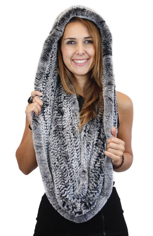 KNITTED REX RABBIT FUR HOODED INFINITY SCARF / NECK WARMER