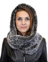 KNITTED REX RABBIT FUR HOODED INFINITY SCARF / NECK WARMER - from THE REAL FUR DEAL & DAVID APPEL FURS new and pre-owned online fur store!