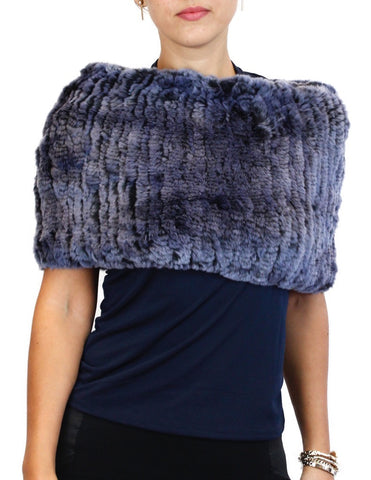 DARK BLUE DYED REX RABBIT FUR COWL NECK CIRCULAR STRETCH SCARF - from THE REAL FUR DEAL & DAVID APPEL FURS new and pre-owned online fur store!