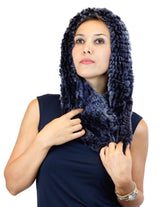 REX RABBIT FUR COWL NECK CIRCULAR STRETCH SCARF - from THE REAL FUR DEAL & DAVID APPEL FURS new and pre-owned online fur store!