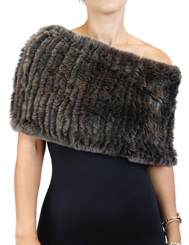 BROWN DYED REX RABBIT FUR COWL NECK CIRCULAR STRETCH SCARF - from THE REAL FUR DEAL & DAVID APPEL FURS new and pre-owned online fur store!
