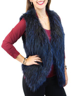 ROYAL BLUE FEATHERY KNITTED FINNISH RACCOON FUR VEST - from THE REAL FUR DEAL & DAVID APPEL FURS new and pre-owned online fur store!