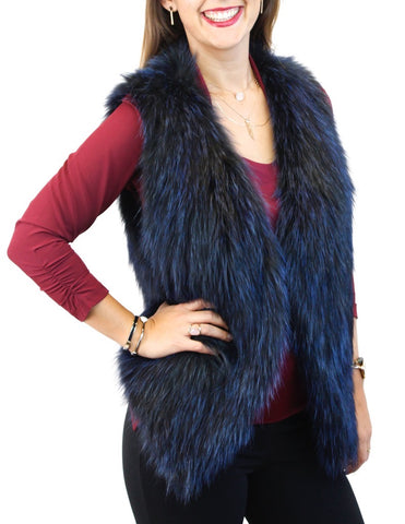 ROYAL BLUE FEATHERY KNITTED FINNISH RACCOON FUR VEST
