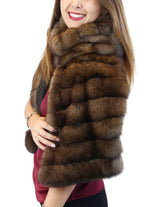 BROWN RUSSIAN SABLE FUR & CASHMERE STOLE - WIDE, DIAGONAL, REVERSIBLE DESIGN! - from THE REAL FUR DEAL & DAVID APPEL FURS new and pre-owned online fur store!