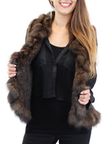 KNITTED NATURAL RUSSIAN SABLE FUR VEST WITH RUFFLES - from THE REAL FUR DEAL & DAVID APPEL FURS new and pre-owned online fur store!